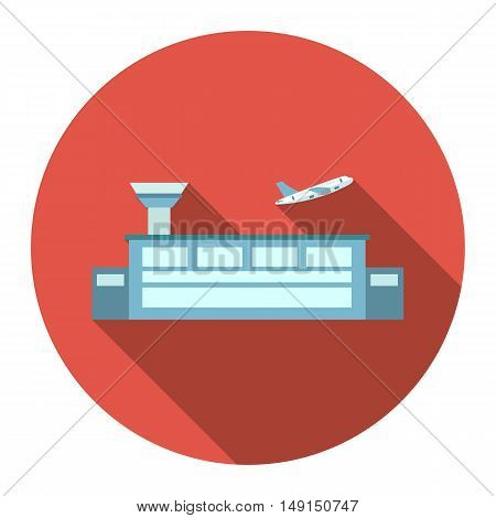 Airport icon cartoon. Single building icon from the big city infrastructure collection.