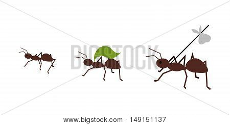 Brown ant carrying her baggage on tree branch. Ant carrying green leaf. Ant icon. Ant holding. Insect icon. Termite icon. Isolated object in flat design on white background. Vector illustration.