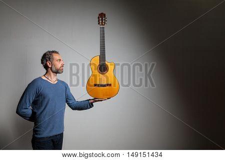 Portrait of a musician, gradient background