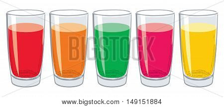 vector set of colorful glasses with tasty fresh juice