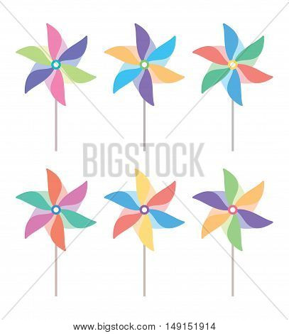 vector colorful and striped pinwheel set isolated on white