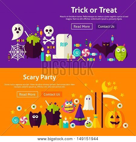 Halloween Scary Party Website Banners. Vector Illustration for Web Header. Trick or Treat Modern Flat Design.