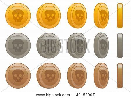 game coin skull animation set vector illustration.