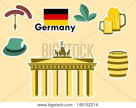 German Stickers, Germany Symbols, The Brandenburg Gate, Beer, Oak Leaves, Bavarian Sausages. Patches
