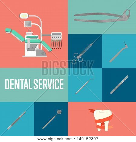 Dental service square composition with instruments icons and modern dental chair. Healthy clean teeth. Dental treatment and hygiene. Tooth care and restoration. Dentist office banner