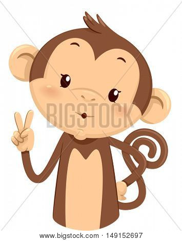 Mascot Illustration of a Cute Monkey Using His Fingers to Gesture the Number