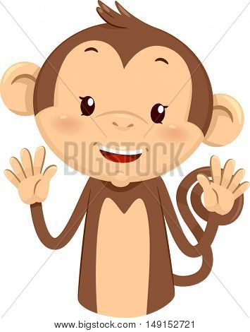 Mascot Illustration of a Cute Monkey Using His Fingers to Gesture the Number Ten