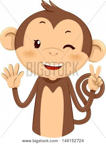 Mascot Illustration of a Cute Monkey Using His Fingers to Gesture the Number Seven