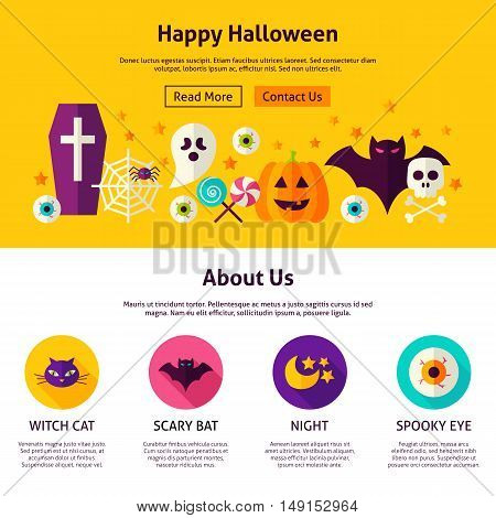 Happy Halloween Web Design Template. Flat Style Vector Illustration for Website Banner and Landing Page. Trick or Treat.