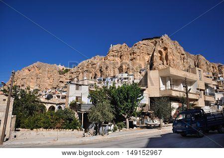 Maalula, Syria - May 09, 2010: Buildings of monastery Takla near Damascus, Syria