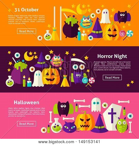 Happy Halloween Web Horizontal Banners. Flat Style Vector Illustration for Website Header. Trick or Treat Objects.