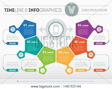 Part of the report with logo and icons set. Vector infographic of technology or education process. Business concept with six options. Web Template of a pyramidal chart diagram or presentation.