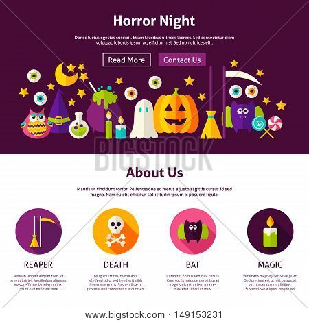 Horror Night Web Design Template. Flat Style Vector Illustration for Website Banner and Landing Page. Happy Halloween.