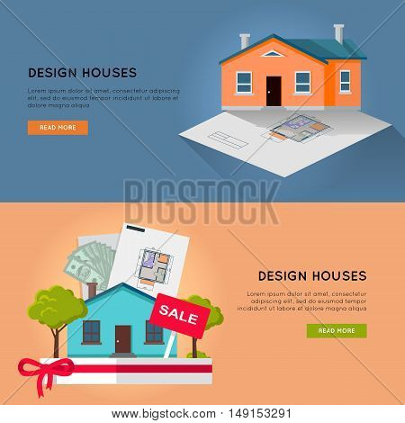 Set of real estate vector horizontal web banners. Flat style. Designing, buying and selling a new place for living. Illustration for real estate, building, engineering company web page design.