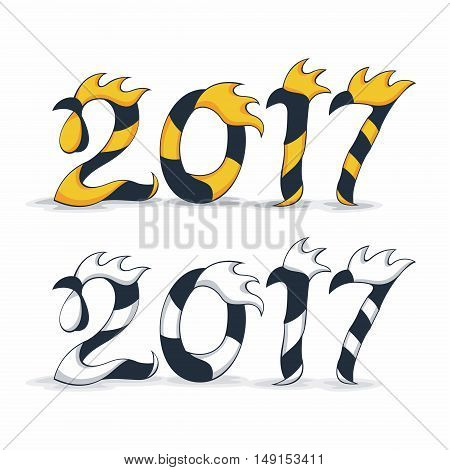 Rooster 2017 vector symbol. New Year symbol of rooster