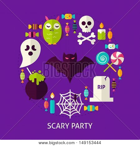 Scary Halloween Party Flat Concept. Poster Design Vector Illustration. Set of Trick or Treat Objects.