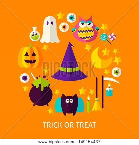 Trick or Treat Flat Concept. Poster Design Vector Illustration. Set of Happy Halloween Objects.