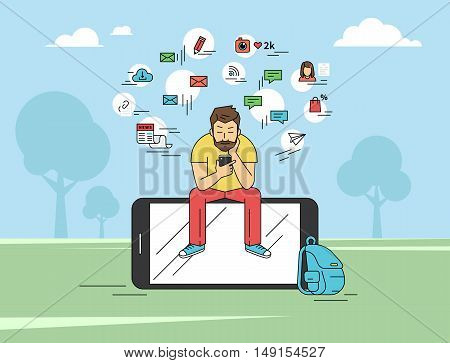 Young man sitting on the big smartphone and texting messages using smartphone. Flat modern illustration of social networking, searching and sending email and texting to friends in social networks