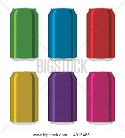 vector colorful drink cans isolated on white