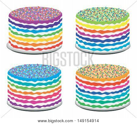 vector set of colorful rainbow cakes isolated on white