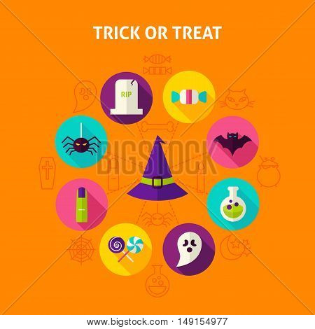 Trick or Treat Infographic Concept. Vector Illustration of Happy Halloween Circle with Flat Design Icons.