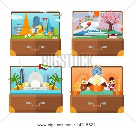 Set of India, United Arab Emirates, Thailand, Japan travel posters. Open suitcases with coutry landmarks. Time to travel concept. Natural landscape. Travel composition with famous landmarks.