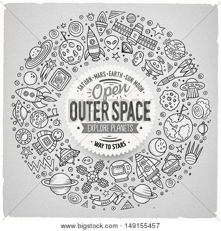 Line art vector hand drawn set of space cartoon doodle objects, symbols and items. Round frame composition