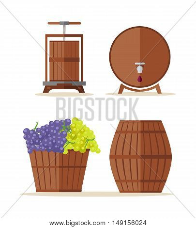 Wine barrels set. Collection of tuns, buts, containers, octaves. Wooden wine casks. Basket with grapes. Check elite vintage strong wine. Part of series of viniculture production items. Vector