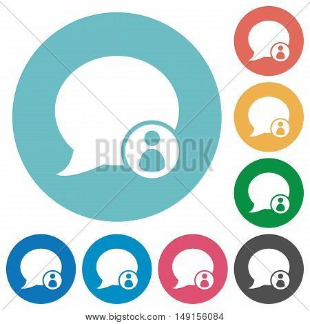 Flat blog comment owner icon set on round color background.