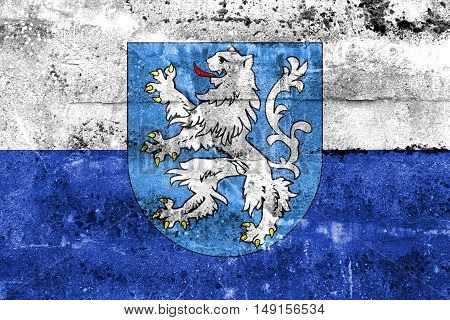 Flag Of Mlada Boleslav With Coat Of Arms, Czechia, Painted On Dirty Wall