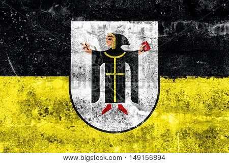 Flag Of Munich With Coat Of Arms, Germany, Painted On Dirty Wall