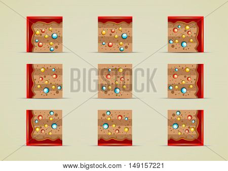 Set of nine sprites with colored stones for creating video game