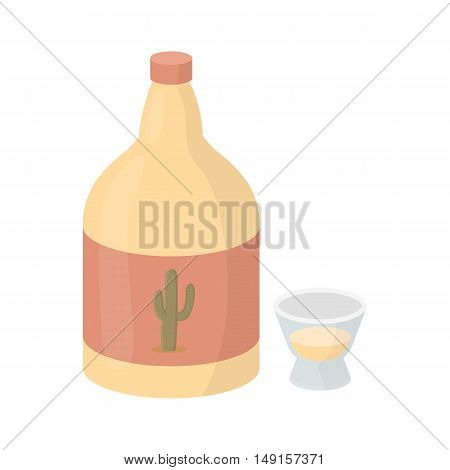 Tequila icon in cartoon style isolated on white background. Alcohol symbol vector illustration.