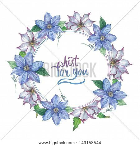 Wildflower clematis flower wreath in a watercolor style isolated. Full name of the plant: clematis, wisteria. Aquarelle flower could be used for background, texture, pattern, frame or border.