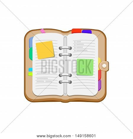 Open spiral diary, notebook or personal organizer. Notepad with stickers, bookmark. Vector icon isolated on a white background.