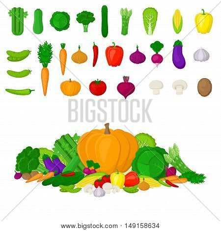 Set of Eco fresh colorful vegetables isolated on white background. Healthy lifestyle or diet vector design element. Healthy Food Concept, Natural Organic Concept. Vector illustration