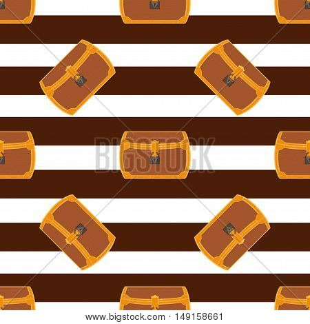 Pirate chest seamless pattern cartoon style illustration