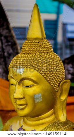 Close-up.   Buddha statue face. in wat Thailand.