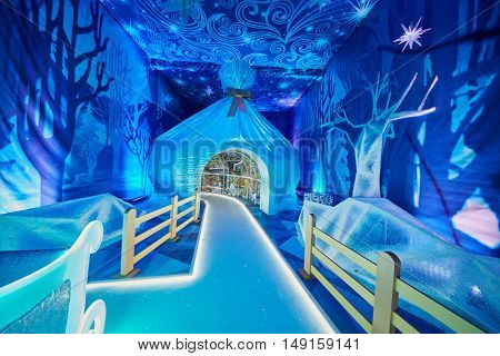 MOSCOW, RUSSIA - DEC 20, 2014: Room in the Father Frost House in the pavillion at VDNKH exhibition during celebrating New Year holidays.