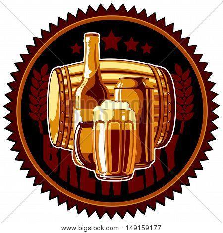 beer label depicting mugs, bottles and barrels