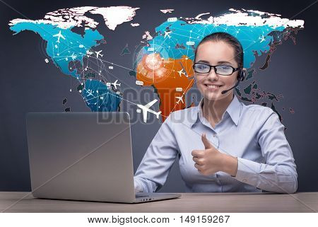 Concept of online booking with busineswoman and laptop