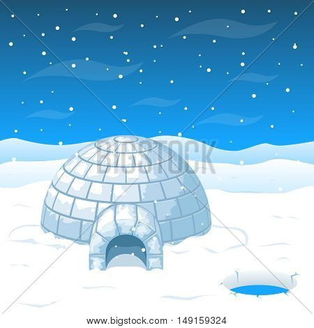 Eskimo cold house from ice blocks in Antarctica vector illustration. Dome house for winter weather and north house from cold