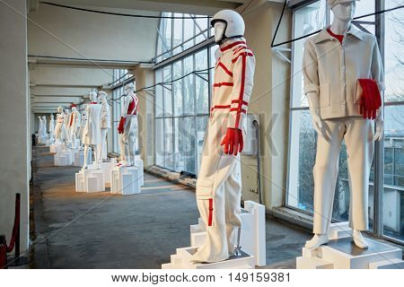 MOSCOW, RUSSIA - DEC 20, 2014: White mannequins in pavilion at exhibition Miracle Mechanics at VDNKH. Exhibition presents objects created for the opening of 22-d Olympic Winter Games.