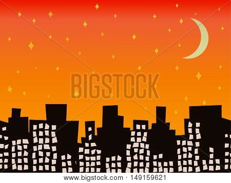 City silhouette at night with stars and moon seamless vector illustration