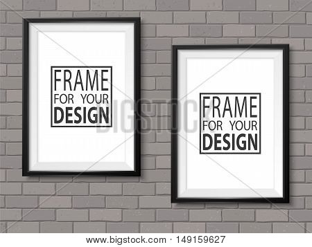 Frames on grey brick wall. Black photoframes mock up. Empty framing for modern interior. Isolated vector illustration. Realistic vector template for posters paintings or photos.