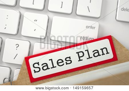 Sales Plan Concept. Word on Red Folder Register of Card Index. Closeup View. Blurred Image. 3D Rendering.