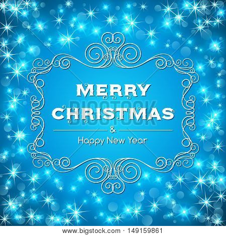 Merry christmas text message with decorative frame on sparkling background. Vector illustration