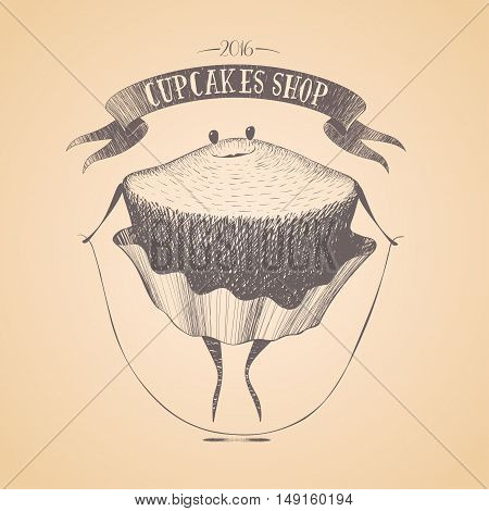 Cupcake bakery shop vector logo sign icon symbol emblem insignia. Cute isolated hand drawn graphic template design element illustration with cupcake muffin funny childish character