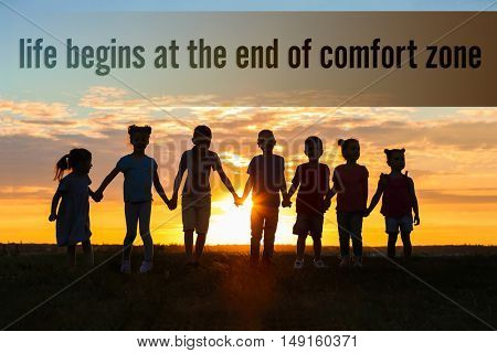 Comfort zone concept. Happy kids silhouettes on sunset background
