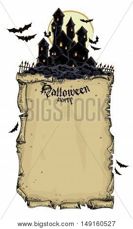 Halloween party invitation with a picture of a black castle